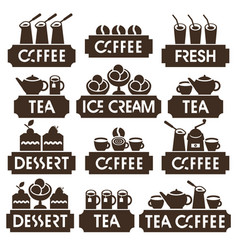 set logo of coffee tea dessert juice ice cream vector image
