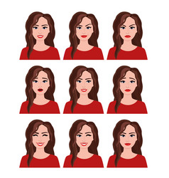 woman with different facial vector image