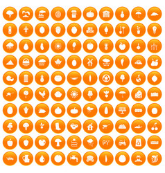 100 productiveness icons set orange vector