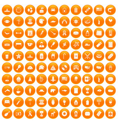100 usa icons set orange vector