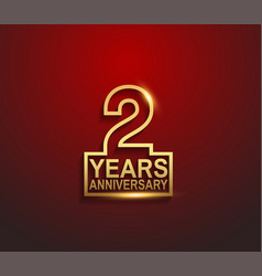 2 years golden anniversary line style isolated vector