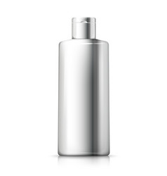 3d realistic silver shampoo bottle vector