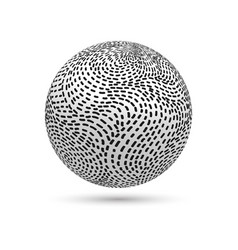 3d striped ball vector image
