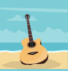 Acoustic guitar design with beach background vector