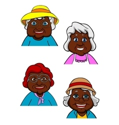 Active smiling old women cartoon characters vector