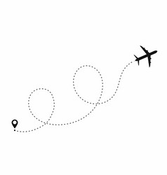 Airplane path in dotted line shape route of plane vector