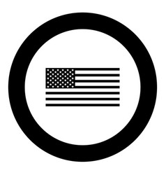 american flag icon black color in circle vector image