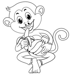 animal outline for monkey eating banana vector image vector image