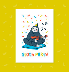 Animal party lazy sloth party cute sloth playing vector
