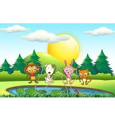 Animals fishing in the pond vector image