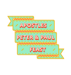 Apostles peter paul feast greeting emblem vector
