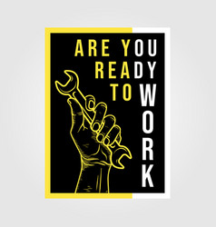 Are you ready to work minimalist poster vintage vector