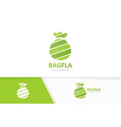 bag logo combination sack and bank symbol vector image