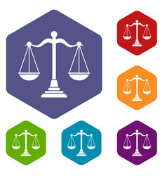 balance scale icons set vector image