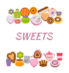 banner with sweets over white vector image