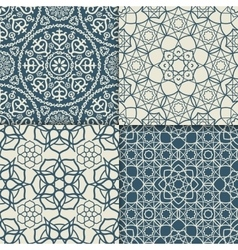 Blue arabic pattern set vector image