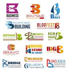 business company and brand identity letter b vector image
