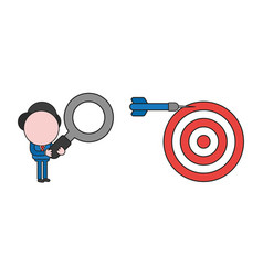 Businessman character holding magnifying glass vector