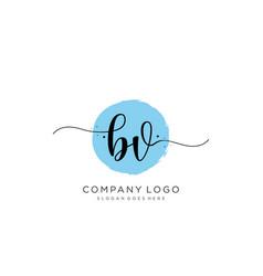 bv initial handwriting logo design vector image