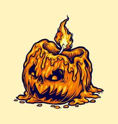 candle head halloween pumpkin vector image