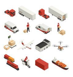 cargo transportation isometric icons vector image