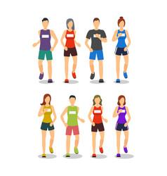cartoon color characters people marathon runners vector image