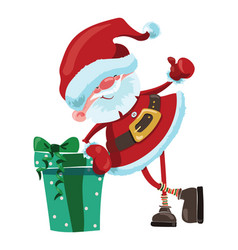 cartoon santa claus with a big gift christmas vector image