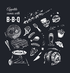 chalk drawn food poster design background vector image