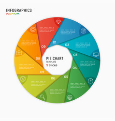 Circle chart infographic template 9 vector