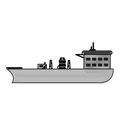 Color blurred stripe boat cargo with platform vector