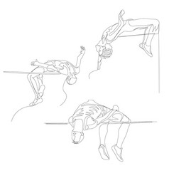 Continuous one line high jumper set summer vector