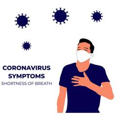Coronavirus symptoms shortness breath vector