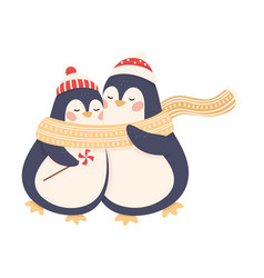 Cute penguins as new year characters in winter vector