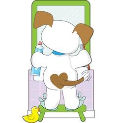 Cute Puppy Bathroom vector image