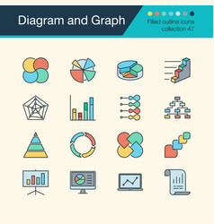 Diagram and graph icons filled outline design vector