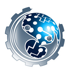 digital technology sphere gear with people vector image