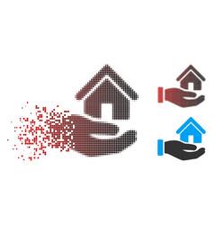 Disintegrating dotted halftone real estate offer vector