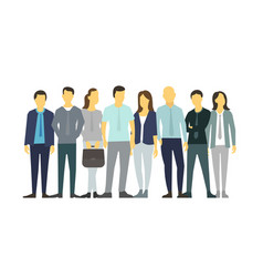 Eight people in line group people vector