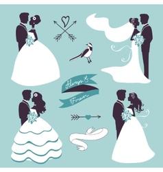Elegant wedding couples in silhouette vector