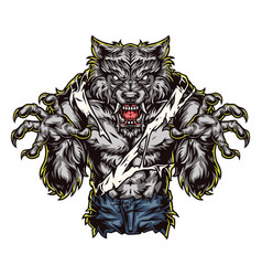 Ferocious werewolf monster colorful concept vector