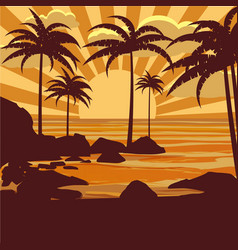 Floral tropical background with palm trees vector