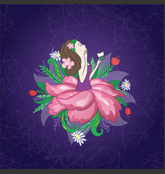 flower girl on techno background vector image