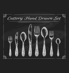 Fork spoon knife on chalkboard vector