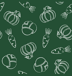 fresh vegetable chalk contour seamless pattern vector image