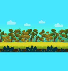 game background with forest and green foreground vector image