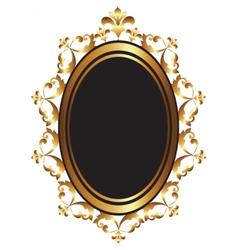 Golden baroque mirror frame vector