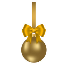 golden christmas ball on a ribbon with a beautiful vector image