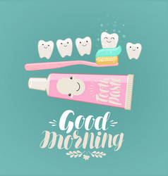 Good morning banner brushing teeth hygiene vector