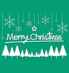 green christmas day paper postcard snowflake star vector image