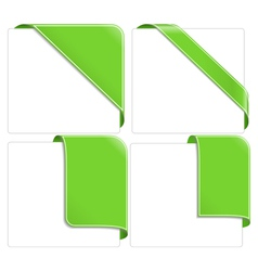 Green corner ribbons vector